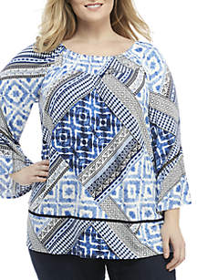 Plus Size Blue and Black Print Patchwork Tunic