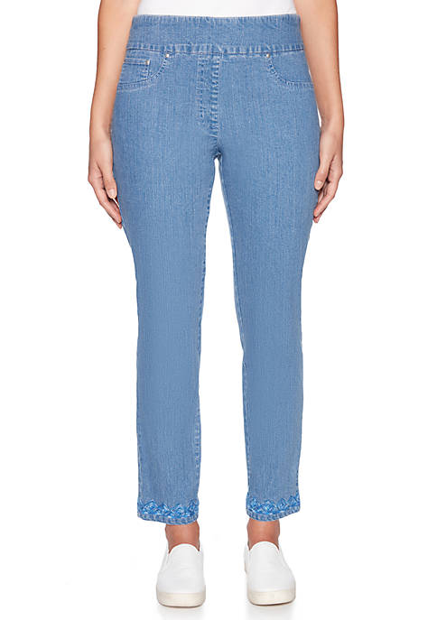 Petite Into Blue Pull-On Embroidered Pants