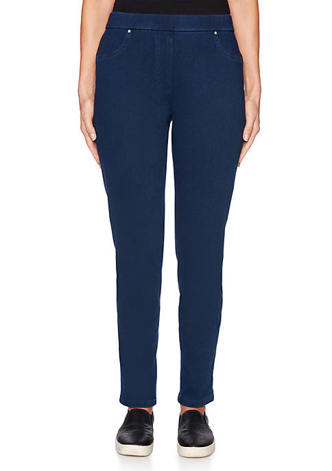 Ruby Rd Petite Into Blue Pull-On Twill Pants