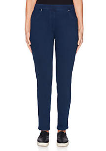 Petite Into Blue Pull-On Twill Pants