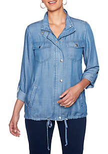 Petite Into The Blue Zip Front Tencel® Jacket