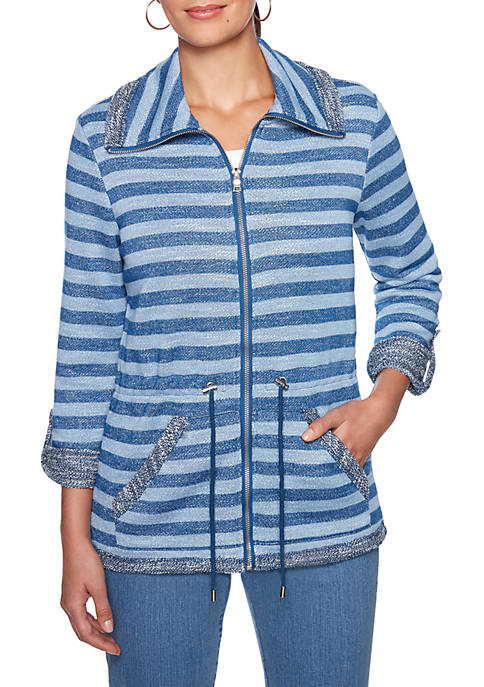 Petite Into The Blue Stripe Slub Terry Jacket