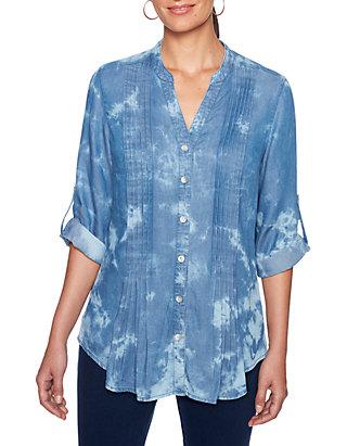 c2ed6aef9ea Ruby Rd. Ruby Rd Petite Into The Blue Tencel® Denim Tie Dye Tunic