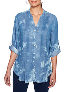 Petite Into The Blue Tencel® Denim Tie Dye Tunic