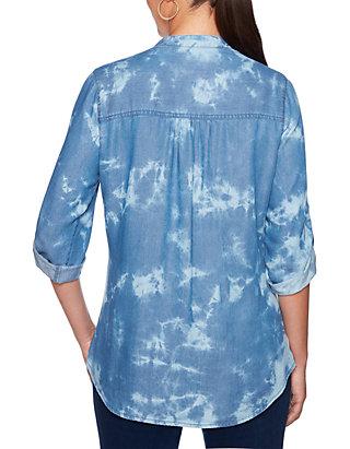 8f0ea484f3a Ruby Rd Petite Into The Blue Tencel® Denim Tie Dye Tunic | belk