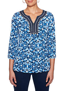 Petite Into The Blue Embroidered Split Neck Tunic Top