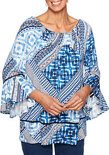 Petite Into The Blue Patchwork Print Tunic