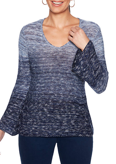 Ruby Rd Petite Into The Blue Ombre Sweater