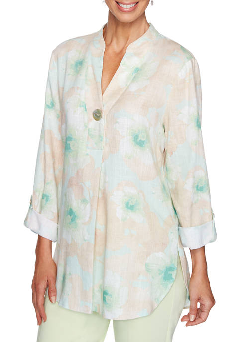Ruby Rd Womens Easy Breezy Floral Linen Tunic