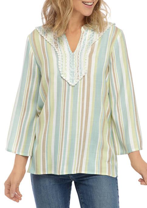 Ruby Rd Womens Beachcomber Stripe Print Woven Top
