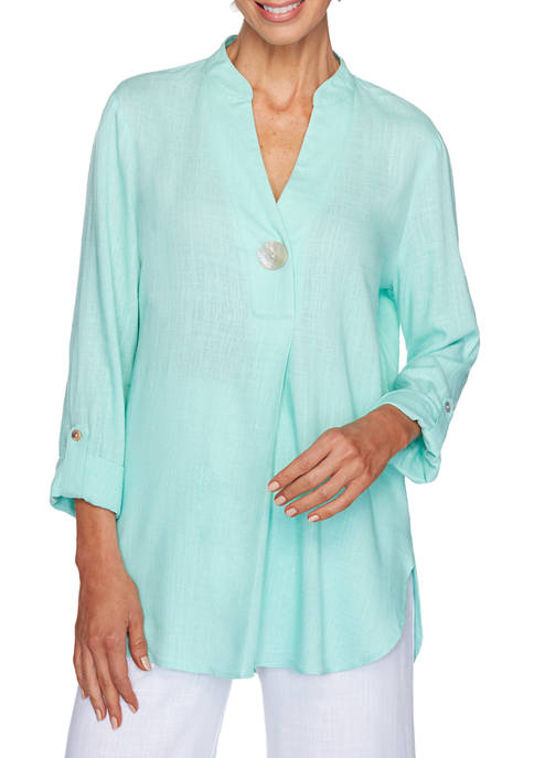 Ruby Rd Petite Easy Breeze Embroidered Split Neck