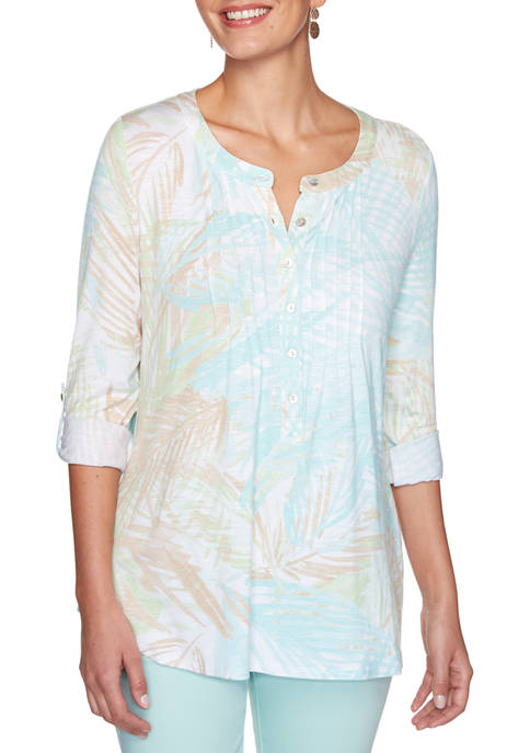 Ruby Rd Petite Easy Breeze Embroidered Sway Palm