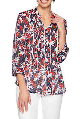 c19340690c96a9 Ruby Rd Must Haves Woven Bamboo Print Shirt ...