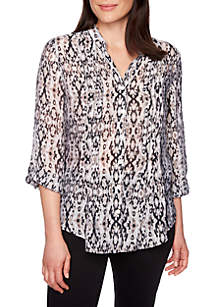 Ruby Rd Must Haves Woven Ikat Print Shirt