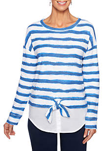 Ruby Rd Stripe Tie Front Top