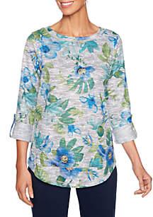 Floral Marled Slub Pullover Top