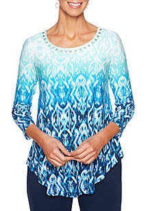 Ombre Ikat Swing Top