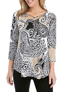 Ruby Rd Paisley Knit Top
