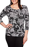 Must Haves Paisley Puff Print Top