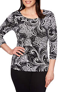 Ruby Rd Must Haves Paisley Puff Print Top