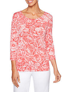 Puff Poppy Print Top