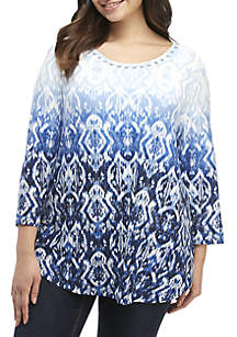 Ruby Rd Plus Size Ombre Ikat Top