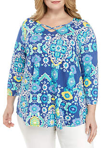 Ruby Rd Plus Size Must Have Cross Detail V Neck Knit Top