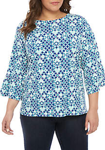 Ruby Rd Plus Size Scoop Neck Geo Puff Print Top