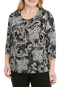 Ruby Rd Plus Size Must Have Scoop Neck Puff Print Top