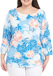 8dbc63401 ... Ruby Rd Plus Size Floral Boat Neck Top
