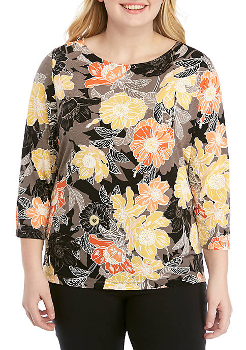 Ruby Rd Plus Size Floral Boat Neck Top