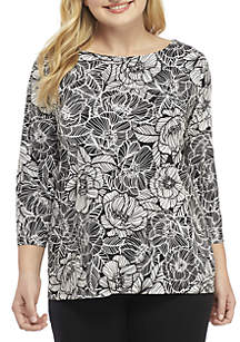 Plus Size Linear Puff Print Knit Top