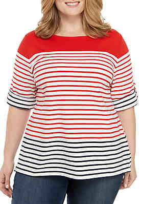 8f31e156a30aac Ruby Rd Plus Size Must Haves Stripe Knit Top ...