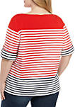 Plus Size Must Haves Stripe Knit Top