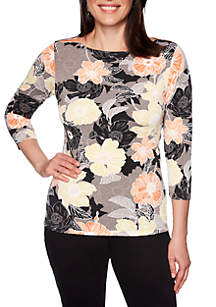 Ruby Rd Petite Must Haves Puff Print Knit Top
