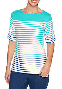 Ruby Rd Petite Must Haves Stripe Knit Top