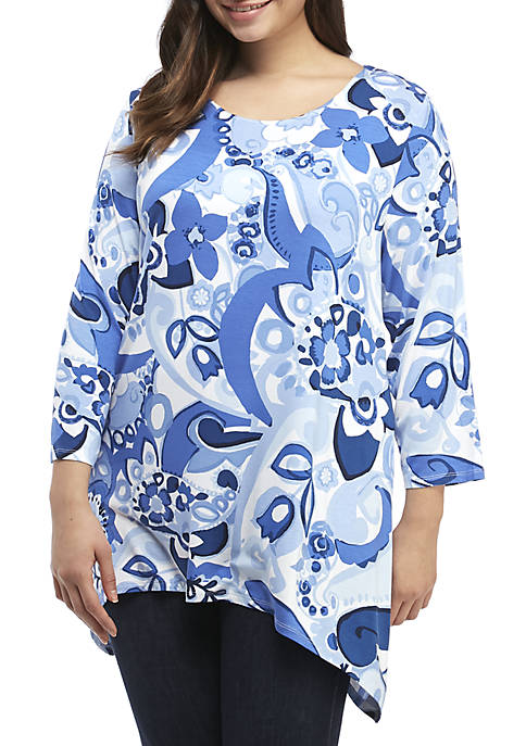 Ruby Rd Plus Size Paisley Top with Shark