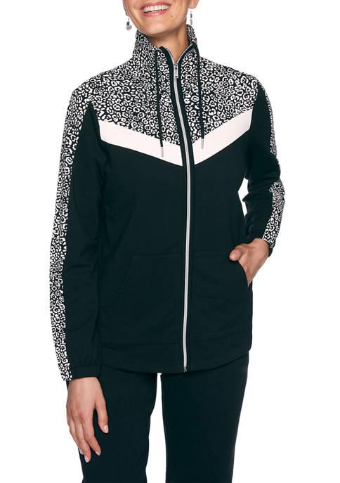 Womens Monochrome Mixed Mini Leopard Print Jacket