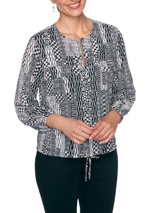 Ruby Rd Womens Monochrome Mix Printed Jacket