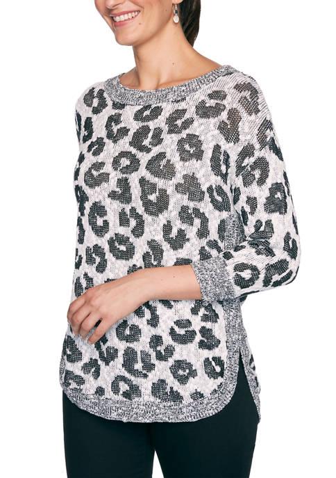 Womens Monochrome Mix Slub Spot Jacquard Top