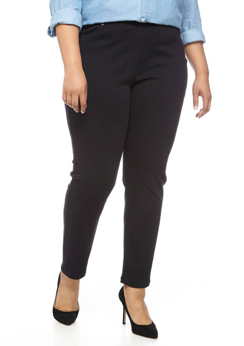 Plus Size Pull On Twill Pants