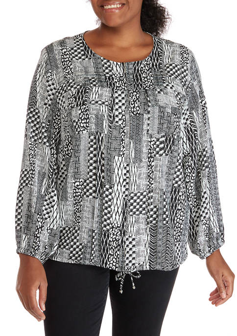 Plus Size Monochrome Mix Patchwork Long Sleeve Crepe Blouse