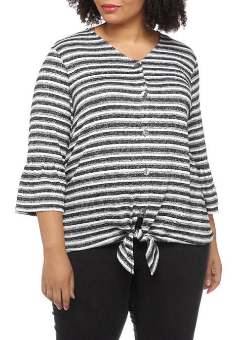 Plus Size Monochrome Mix 3/4 Flounce Sleeve Hacci Knit Tie Front Top