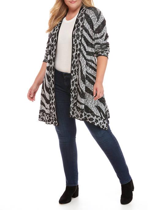 Plus Size Monochrome Mix Animal Jacquard Cardigan