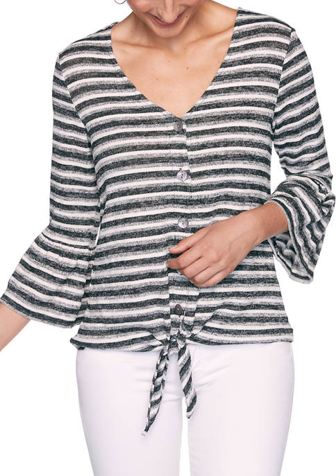 Ruby Rd Petite Monochrome Stripe Tie Front Top