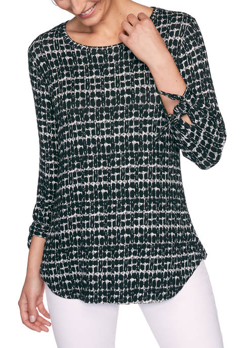 Ruby Rd Petite Monochrome Mixed Tie Sleeve Top
