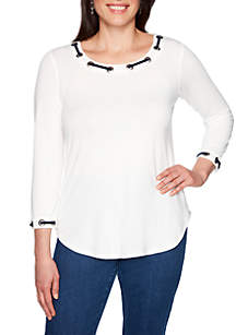 Ruby Rd Cabana Club Scoop Neck Grommet Knit Top