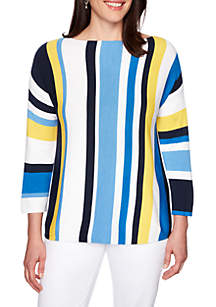 Ruby Rd Cabana Club Boat Neck Multi Stripe Pull Over Sweater