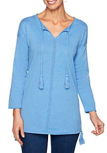 Ruby Rd Cabana Club Split Neck Tassel Sweater