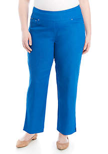 Ruby Rd Plus Size Pull On Stretch Denim Ankle Pants